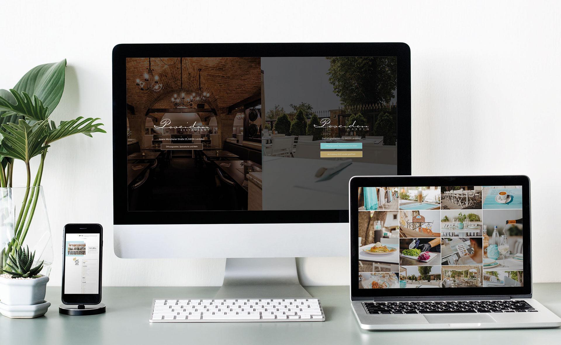 Poseidon Garden Website für Desktop und Mobil
